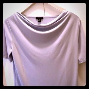 Cowl neck, soft lilac colored short sleeve top.